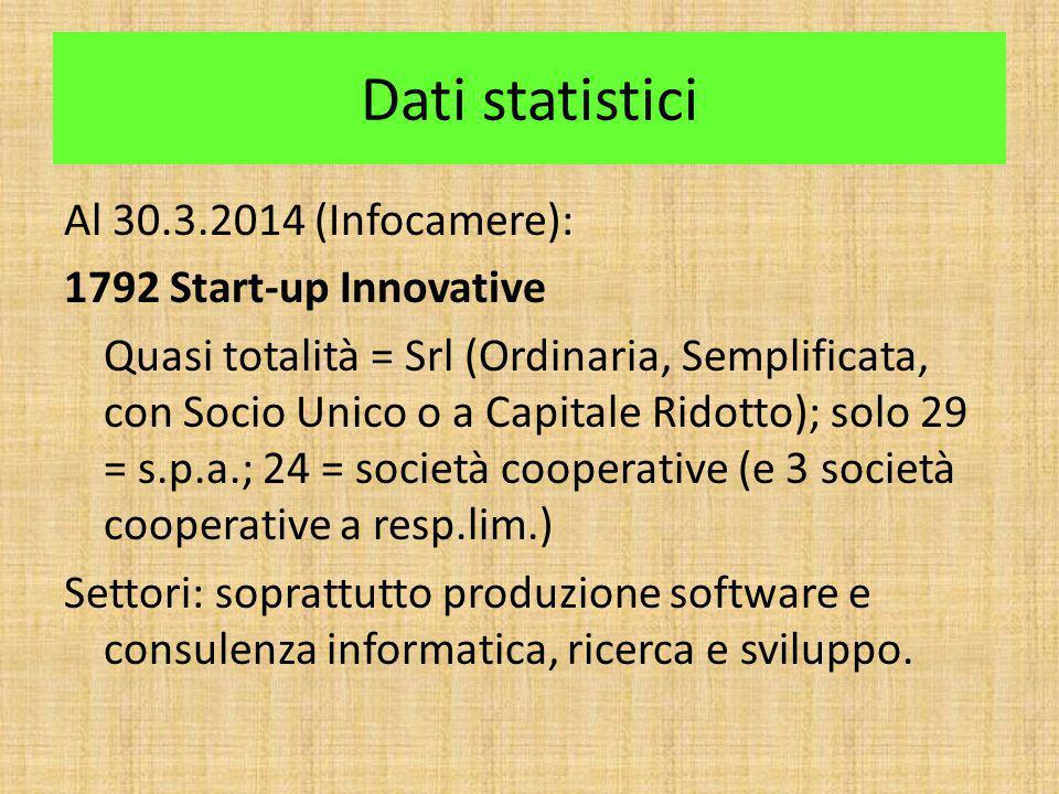 Dati statistici Al 30.3.2014 (Infocamere): 1792 Start-up Innovative Quasi totalità = Srl (Ordinaria, Semplificata, con Socio Unico o a Capitale Ridott