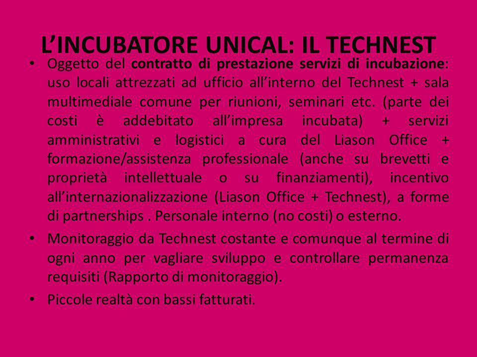 L'INCUBATORE UNICAL: IL TECHNEST Oggetto del contratto di prestazione servizi di incubazione: uso locali attrezzati ad ufficio all'interno del Technes
