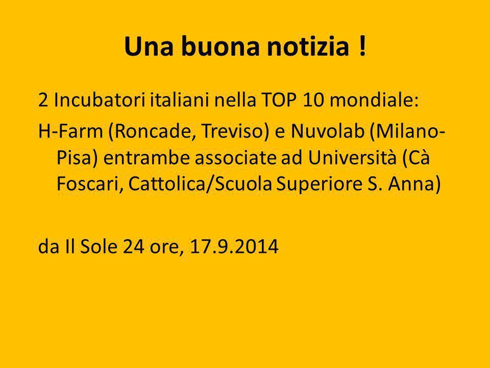 Una buona notizia ! 2 Incubatori italiani nella TOP 10 mondiale: H-Farm (Roncade, Treviso) e Nuvolab (Milano- Pisa) entrambe associate ad Università (