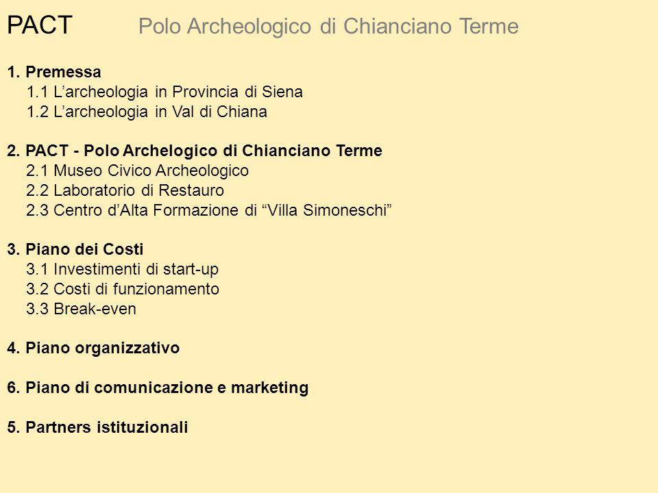 PACT Polo Archeologico di Chianciano Terme 1. Premessa 1.1 L'archeologia in Provincia di Siena 1.2 L'archeologia in Val di Chiana 2. PACT - Polo Arche
