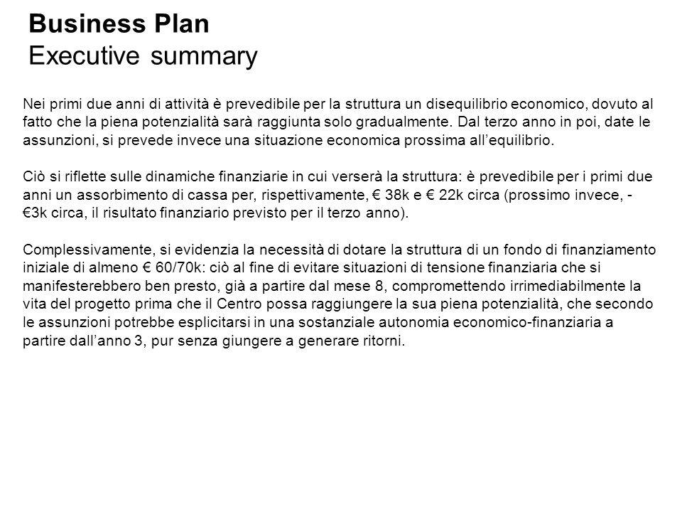 Business Plan Executive summary Nei primi due anni di attività è prevedibile per la struttura un disequilibrio economico, dovuto al fatto che la piena