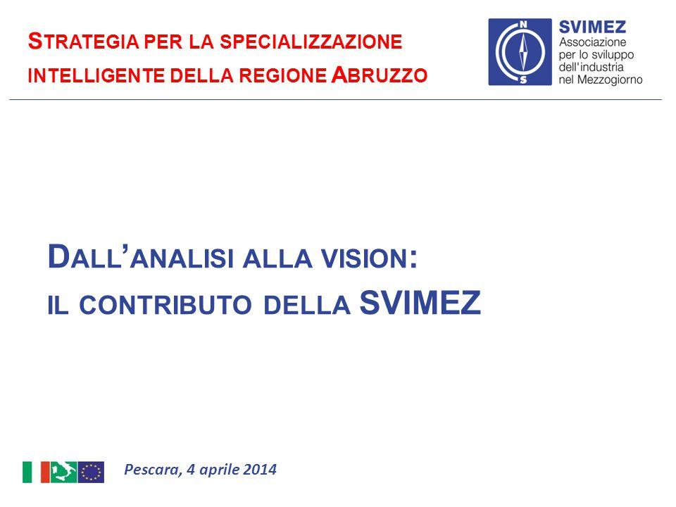 D ALL ' ANALISI ALLA VISION : IL CONTRIBUTO DELLA SVIMEZ Pescara, 4 aprile 2014 S TRATEGIA PER LA SPECIALIZZAZIONE INTELLIGENTE DELLA REGIONE A BRUZZO