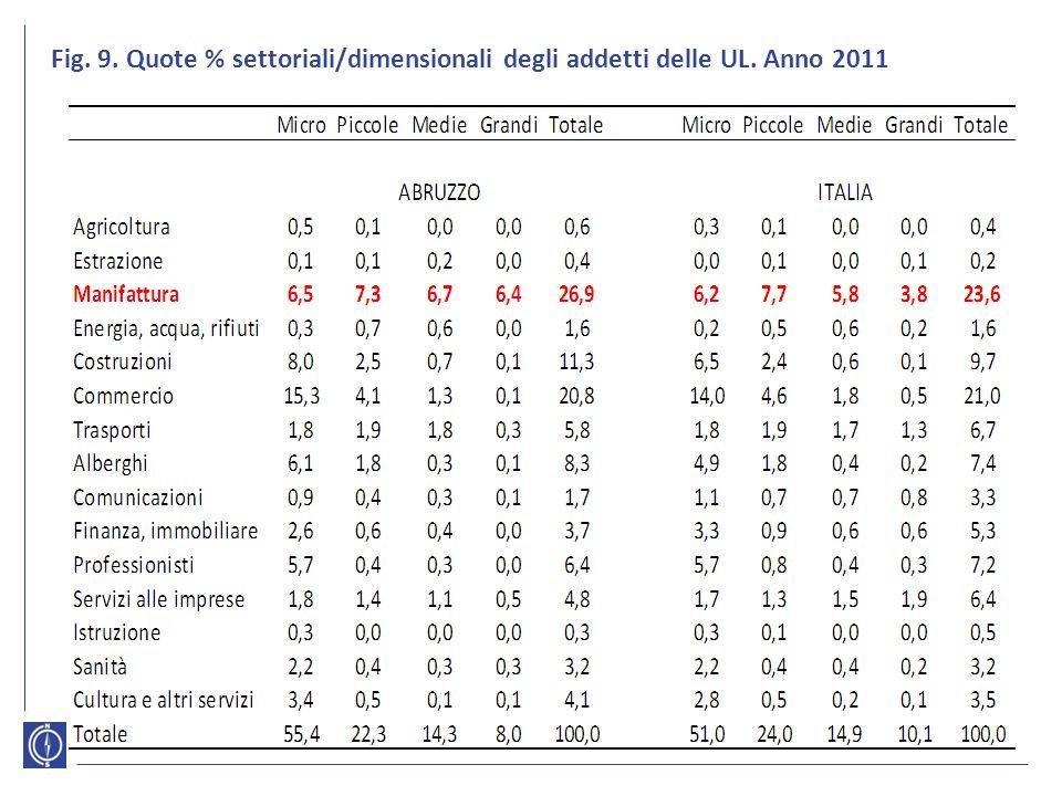 Fig. 9. Quote % settoriali/dimensionali degli addetti delle UL. Anno 2011