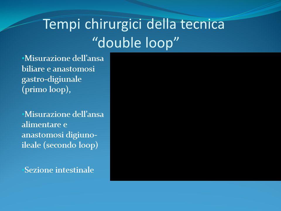 """Tempi chirurgici della tecnica """"double loop"""" Misurazione dell'ansa biliare e anastomosi gastro-digiunale (primo loop), Misurazione dell'ansa alimentar"""