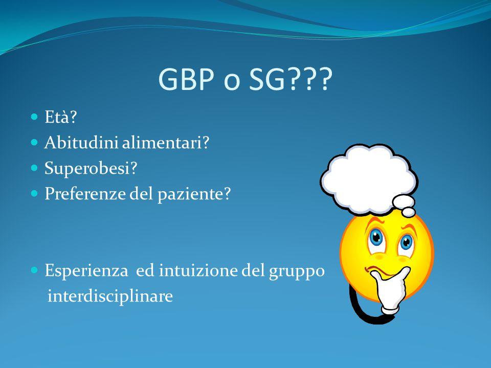 GBP o SG??? Età? Abitudini alimentari? Superobesi? Preferenze del paziente? Esperienza ed intuizione del gruppo interdisciplinare