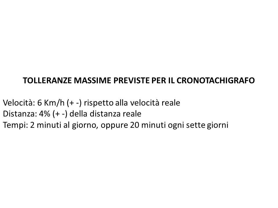 TOLLERANZE MASSIME PREVISTE PER IL CRONOTACHIGRAFO Velocità: 6 Km/h (+ -) rispetto alla velocità reale Distanza: 4% (+ -) della distanza reale Tempi: