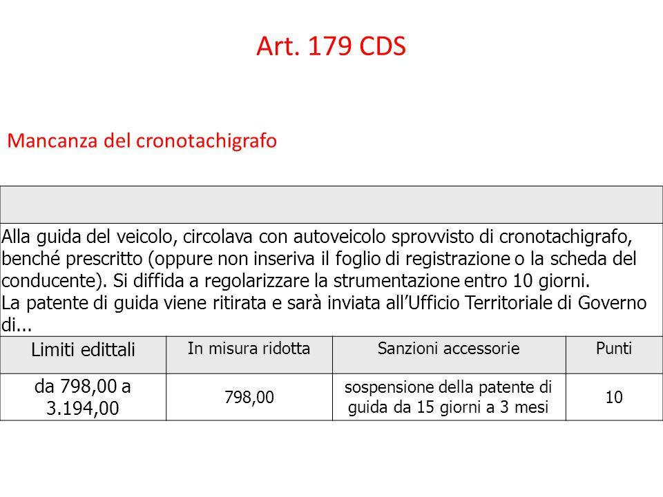 Art. 179 CDS Mancanza del cronotachigrafo Alla guida del veicolo, circolava con autoveicolo sprovvisto di cronotachigrafo, benché prescritto (oppure n