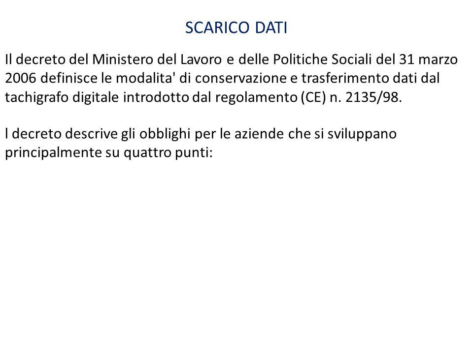 Il decreto del Ministero del Lavoro e delle Politiche Sociali del 31 marzo 2006 definisce le modalita' di conservazione e trasferimento dati dal tachi