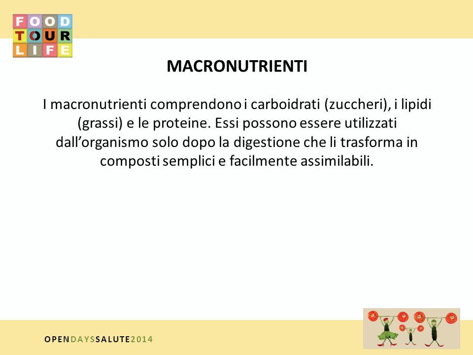 MICRONUTRIENTI I micronutrienti comprendono le vitamine e i cosiddetti minerali essenziali; introdotti in piccole quantità, non vengono modificati dalla digestione né dall'assorbimento e sono indispensabili al regolare svolgimento dei processi vitali (per esempio, delle reazioni enzimatiche) OPENDAYSSALUTE2014