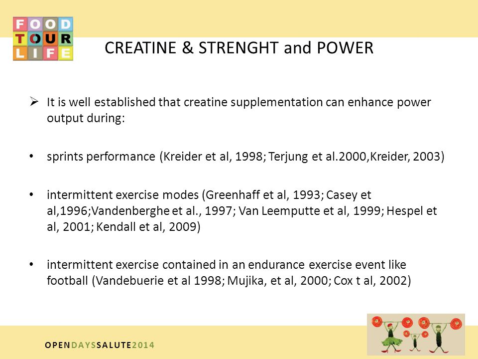 CREATINE & STRENGHT and POWER  It is well established that creatine supplementation can enhance power output during: sprints performance (Kreider et