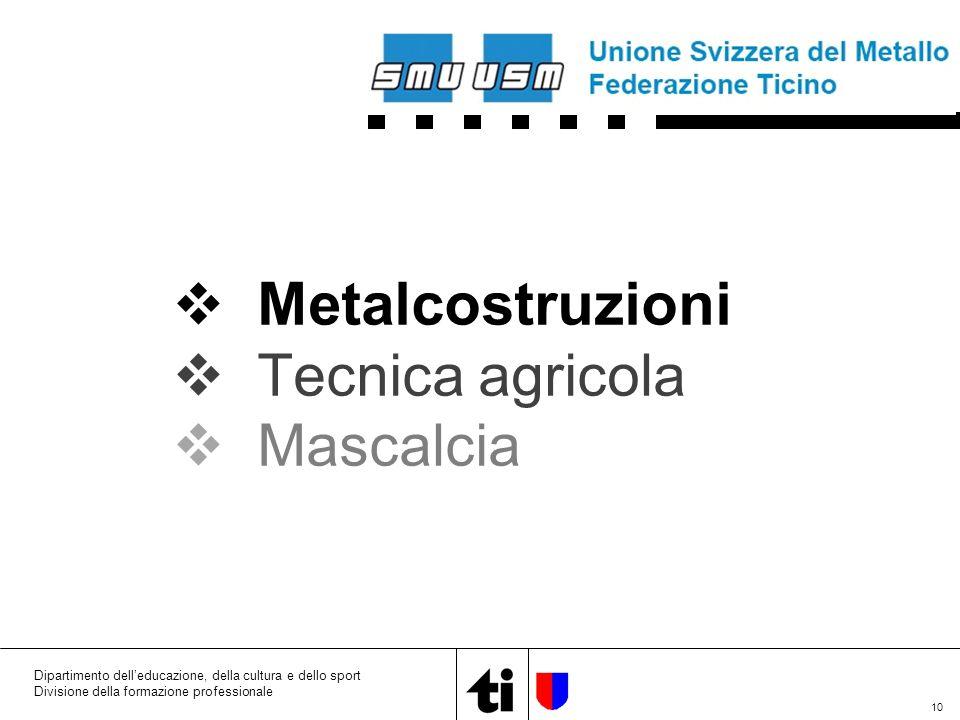 10 Dipartimento dell'educazione, della cultura e dello sport Divisione della formazione professionale  Metalcostruzioni  Tecnica agricola  Mascalcia