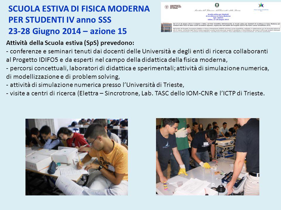 Attività della Scuola estiva (SpS) prevedono: - conferenze e seminari tenuti dai docenti delle Università e degli enti di ricerca collaboranti al Prog