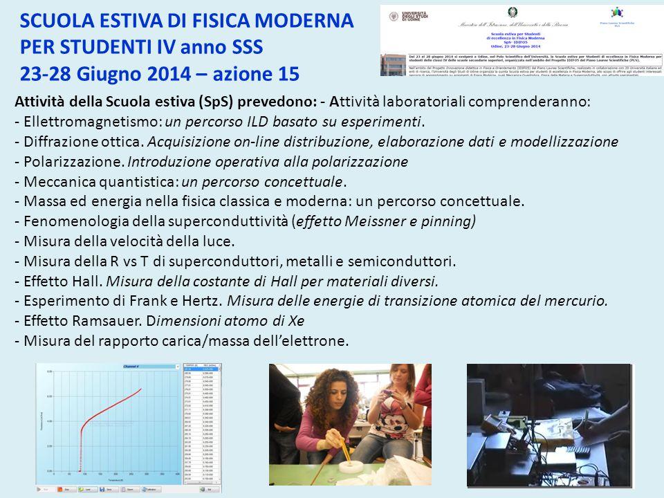 Attività della Scuola estiva (SpS) prevedono: - Attività laboratoriali comprenderanno: - Ellettromagnetismo: un percorso ILD basato su esperimenti. -