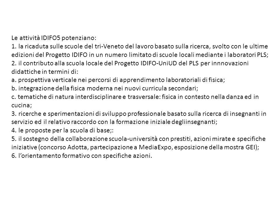 Le attività IDIFO5 potenziano: 1. la ricaduta sulle scuole del tri-Veneto del lavoro basato sulla ricerca, svolto con le ultime edizioni del Progetto