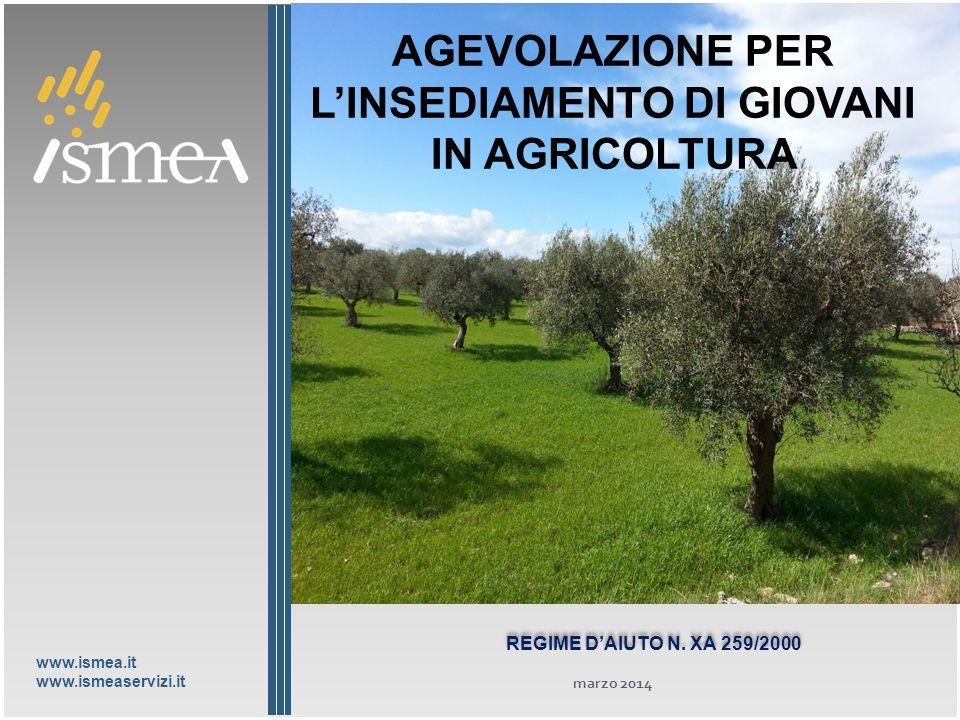 www.ismea.it www.ismeaservizi.it GIOVANI IMPRENDITORI IN AGRICOLTURA IL PANORAMA DELLE OPPORTUNITÀ I servizi finanziari della Ismea REGIME D'AIUTO N.