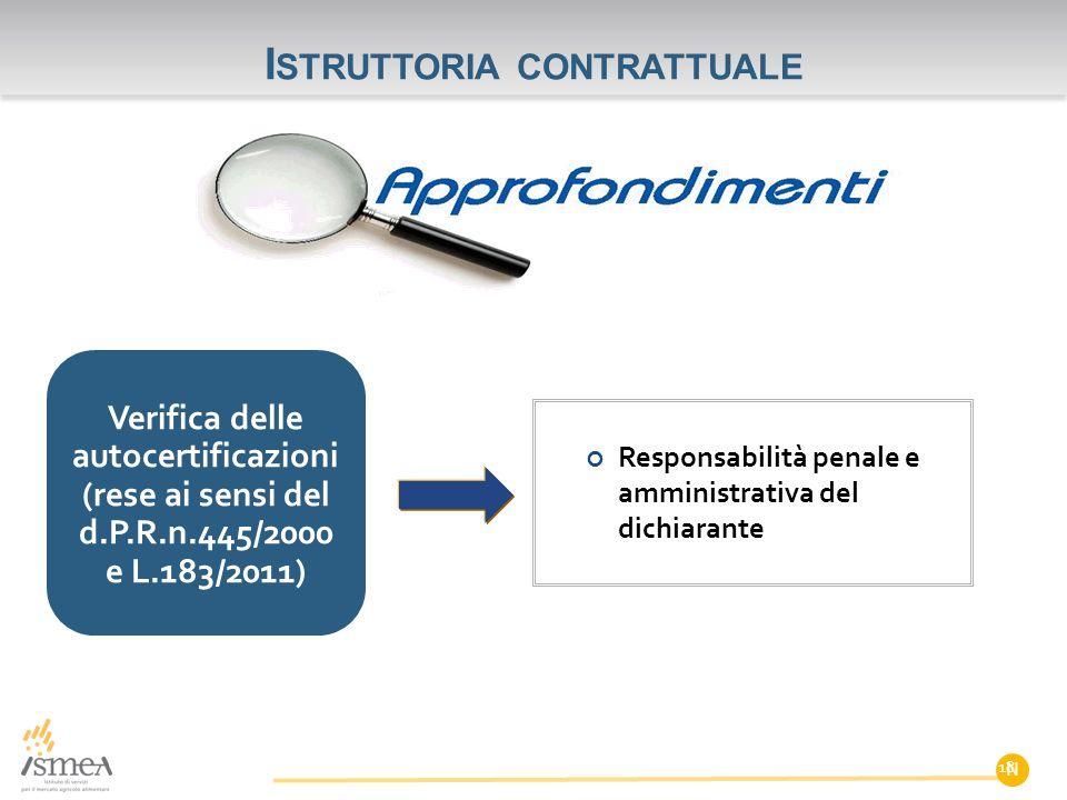 I STRUTTORIA CONTRATTUALE N Verifica delle autocertificazioni (rese ai sensi del d.P.R.n.445/2000 e L.183/2011) Responsabilità penale e amministrativa