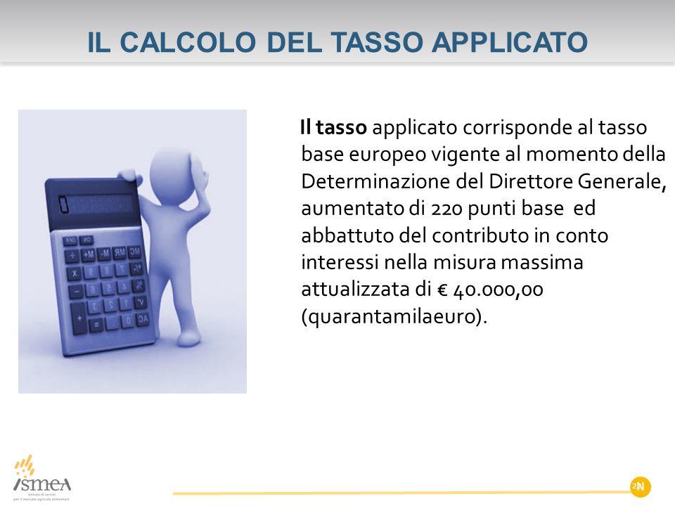 IL CALCOLO DEL TASSO APPLICATO Il tasso applicato corrisponde al tasso base europeo vigente al momento della Determinazione del Direttore Generale, au
