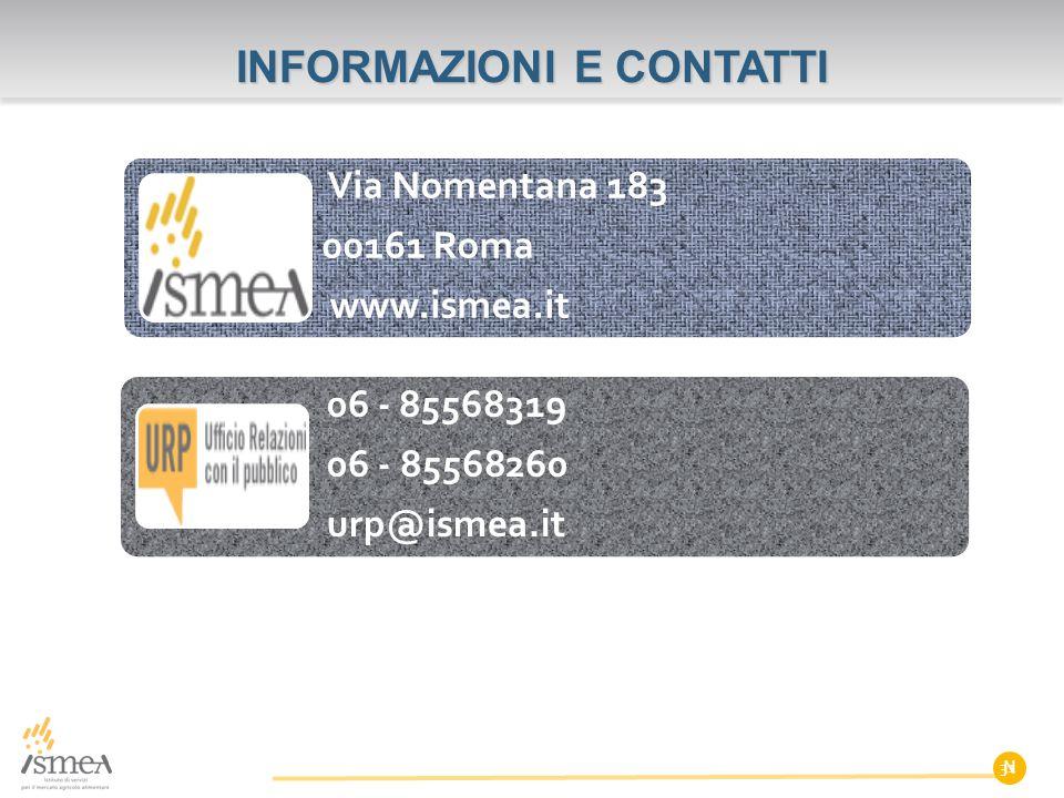 N INFORMAZIONI E CONTATTI Via Nomentana 183 00161 Roma www.ismea.it 06 - 85568319 06 - 85568260 urp@ismea.it 31