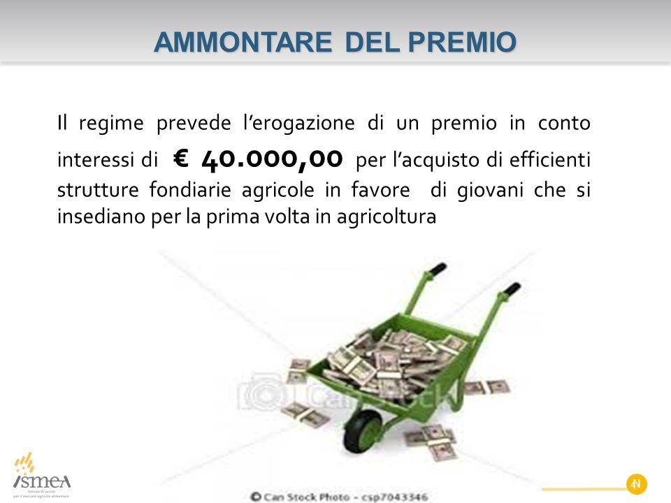 Il regime prevede l'erogazione di un premio in conto interessi di € 40.000,00 per l'acquisto di efficienti strutture fondiarie agricole in favore di g