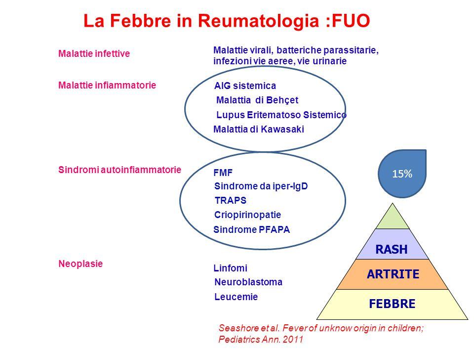 La febbre in Reumatologia Pediatrica Antipiretici raccomandati : dose terapeutica dose tossica Paracetamolo: ( non dotato di effetto antiinfiammatorio ) 10-15 mg/Kg /dose per os (ogni 4-6 ore) 150mg /Kg unica dose 15-20mg/Kg /dose per via rettale Dose massima :75mg/ Kg/die (MAX 1g/dose) Ibuprofene : ( dotato effetto antinfiammatorio ) 10 mg/kg/dose per os > 100mg/kg/die (800mg / dose) ogni 6-8 ore Dose max 30 mg/kg/die (max 1,2 g/die)