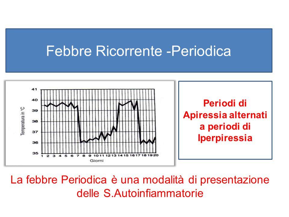 Febbre Ricorrente -Periodica Periodi di Apiressia alternati a periodi di Iperpiressia La febbre Periodica è una modalità di presentazione delle S.Auto