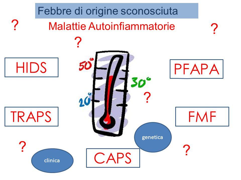 Malattie Autoinfiammatorie Gruppo di patologie caratterizzate da attacchi ricorrenti di infiammazione sistemica apparentemente immotivata con : assenza di elevato titolo anticorpale o di cellule T antigene-specifico caratterizzati febbre +/- -Sierosite - Sinovite - Rash - Coinvolgimento di organi specifici -Artralgie -Mialgie -Sintomi gastrointestinali -Aumento degli indici di flogosi Il segno patofisiologico comune per molti di questi disordini sembra essere un eccesso di signaling di IL-1(IL-1β) (secrezione prolungata o incrementata di questa citochina proinfiammatoria)