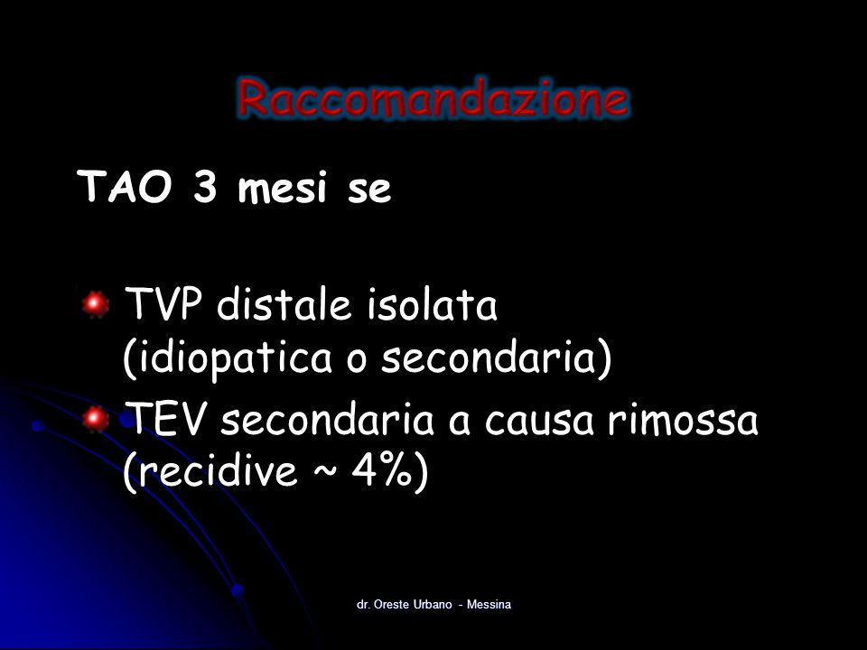 TAO 3 mesi se TVP distale isolata (idiopatica o secondaria) TEV secondaria a causa rimossa (recidive ~ 4%) dr. Oreste Urbano - Messina