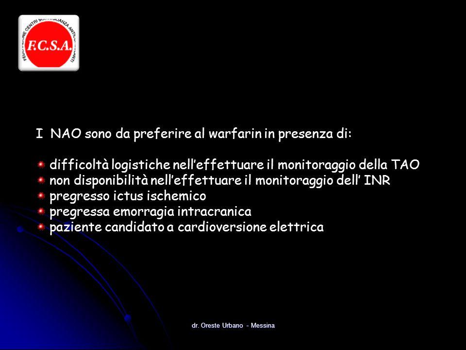 dr. Oreste Urbano - Messina I NAO sono da preferire al warfarin in presenza di: difficoltà logistiche nell'effettuare il monitoraggio della TAO non di