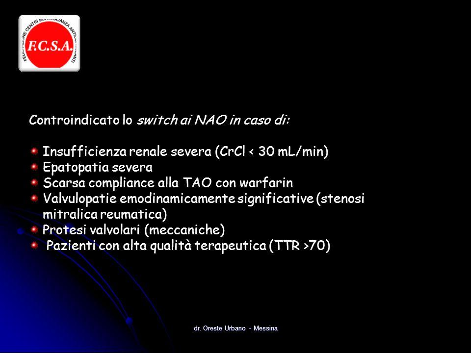 dr. Oreste Urbano - Messina Controindicato lo switch ai NAO in caso di: Insufficienza renale severa (CrCl < 30 mL/min) Epatopatia severa Scarsa compli
