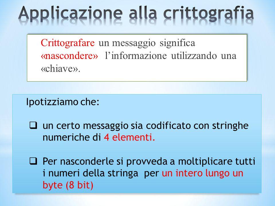 Crittografare un messaggio significa «nascondere» l'informazione utilizzando una «chiave». Ipotizziamo che:  un certo messaggio sia codificato con st