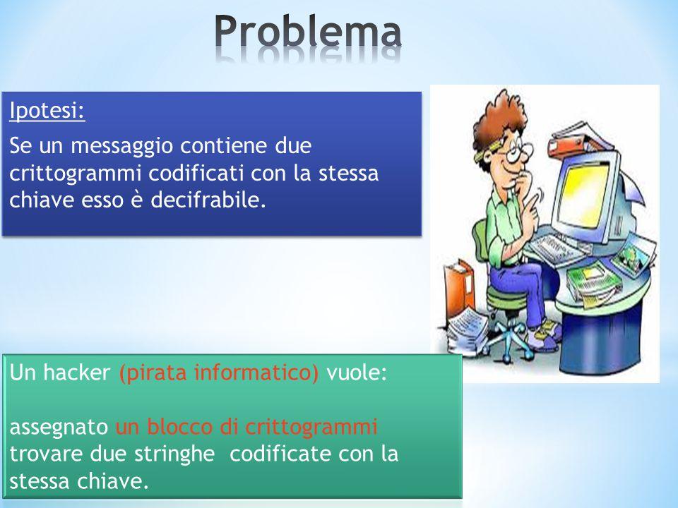 Ipotesi: Se un messaggio contiene due crittogrammi codificati con la stessa chiave esso è decifrabile. Ipotesi: Se un messaggio contiene due crittogra