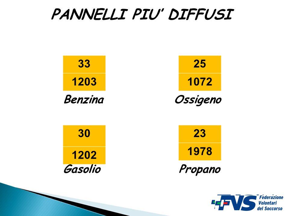 33 1203 23 1978 30 1202 25 1072 Benzina PropanoGasolio Ossigeno PANNELLI PIU' DIFFUSI