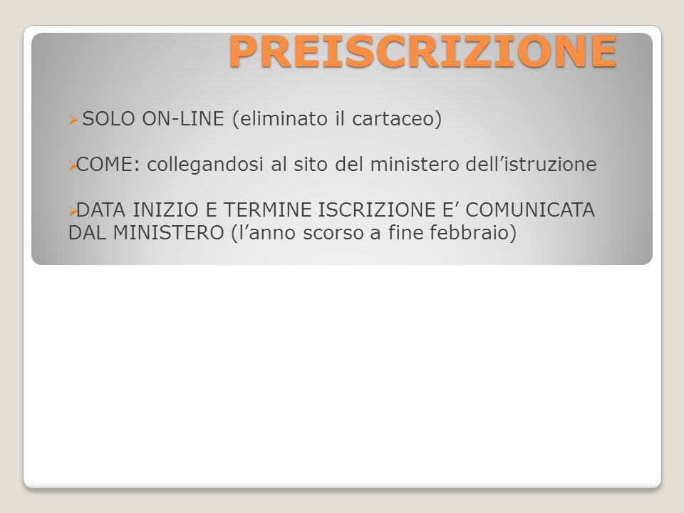 PREISCRIZIONE  SOLO ON-LINE (eliminato il cartaceo)  COME: collegandosi al sito del ministero dell'istruzione  DATA INIZIO E TERMINE ISCRIZIONE E' COMUNICATA DAL MINISTERO (l'anno scorso a fine febbraio)