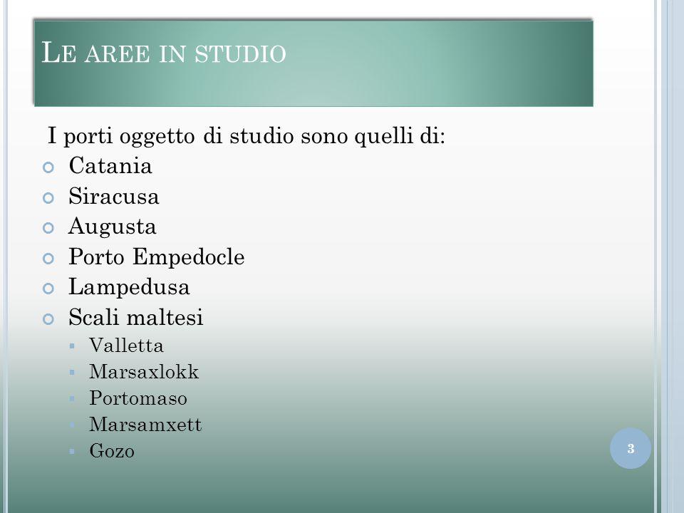 L E AREE IN STUDIO I porti oggetto di studio sono quelli di: Catania Siracusa Augusta Porto Empedocle Lampedusa Scali maltesi  Valletta  Marsaxlokk  Portomaso  Marsamxett  Gozo 3