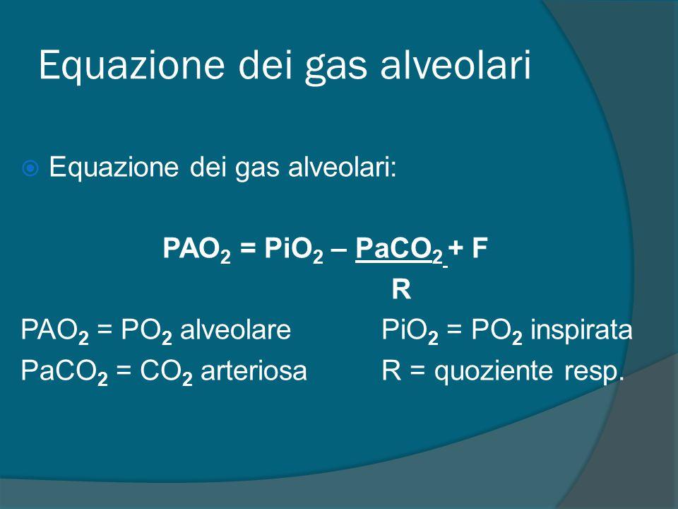 Equazione dei gas alveolari  Equazione dei gas alveolari: PAO 2 = PiO 2 – PaCO 2 + F R PAO 2 = PO 2 alveolare PiO 2 = PO 2 inspirata PaCO 2 = CO 2 arteriosa R = quoziente resp.