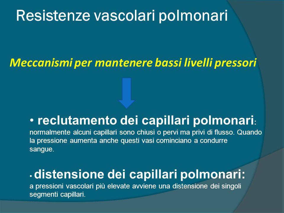 Resistenze vascolari polmonari reclutamento dei capillari polmonari : normalmente alcuni capillari sono chiusi o pervi ma privi di flusso.
