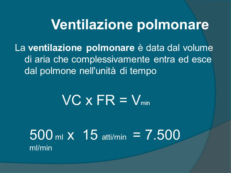 La ventilazione polmonare è data dal volume di aria che complessivamente entra ed esce dal polmone nell'unità di tempo VC x FR = V min Ventilazione po