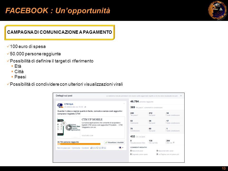 13 FACEBOOK : Un'opportunità CAMPAGNA DI COMUNICAZIONE A PAGAMENTO 100 euro di spesa 50.000 persone raggiunte Possibilità di definire il target di rif