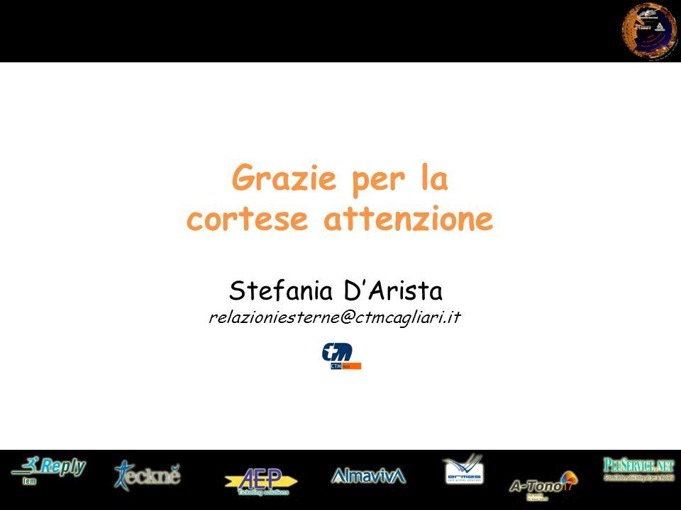 17 Grazie per la cortese attenzione relazioniesterne@ctmcagliari.it Stefania D'Arista