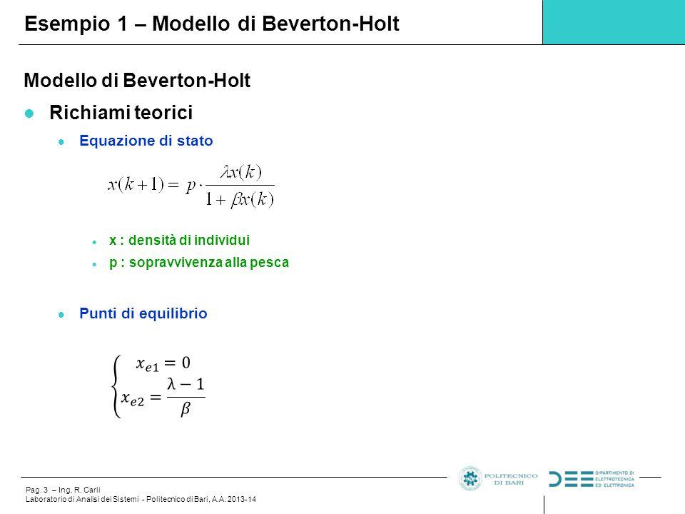 Pag. 3 – Ing. R. Carli Laboratorio di Analisi dei Sistemi - Politecnico di Bari, A.A. 2013-14 Esempio 1 – Modello di Beverton-Holt Modello di Beverton