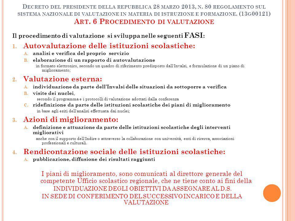 D ECRETO DEL PRESIDENTE DELLA REPUBBLICA 28 MARZO 2013, N. 80 REGOLAMENTO SUL SISTEMA NAZIONALE DI VALUTAZIONE IN MATERIA DI ISTRUZIONE E FORMAZIONE.