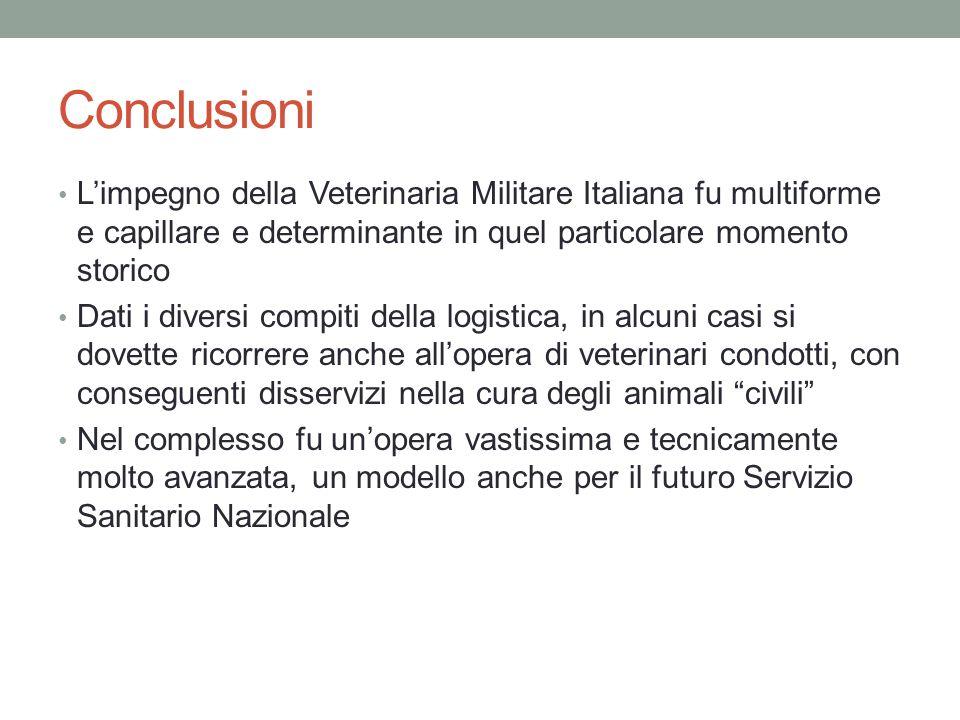 Conclusioni L'impegno della Veterinaria Militare Italiana fu multiforme e capillare e determinante in quel particolare momento storico Dati i diversi