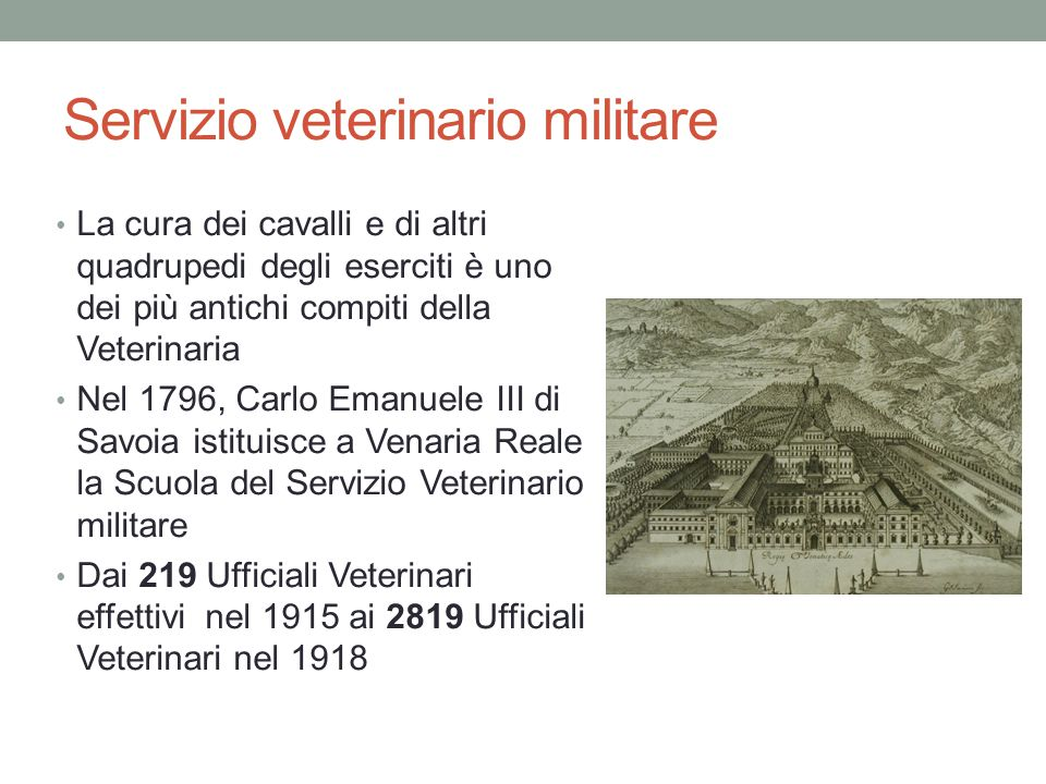 Servizio veterinario militare La cura dei cavalli e di altri quadrupedi degli eserciti è uno dei più antichi compiti della Veterinaria Nel 1796, Carlo