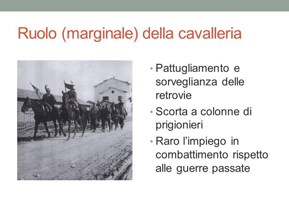 Ruolo (marginale) della cavalleria Pattugliamento e sorveglianza delle retrovie Scorta a colonne di prigionieri Raro l'impiego in combattimento rispet
