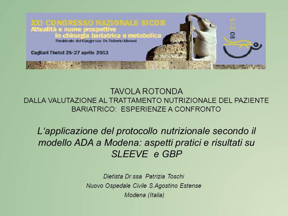 TAVOLA ROTONDA DALLA VALUTAZIONE AL TRATTAMENTO NUTRIZIONALE DEL PAZIENTE BARIATRICO: ESPERIENZE A CONFRONTO L'applicazione del protocollo nutrizional
