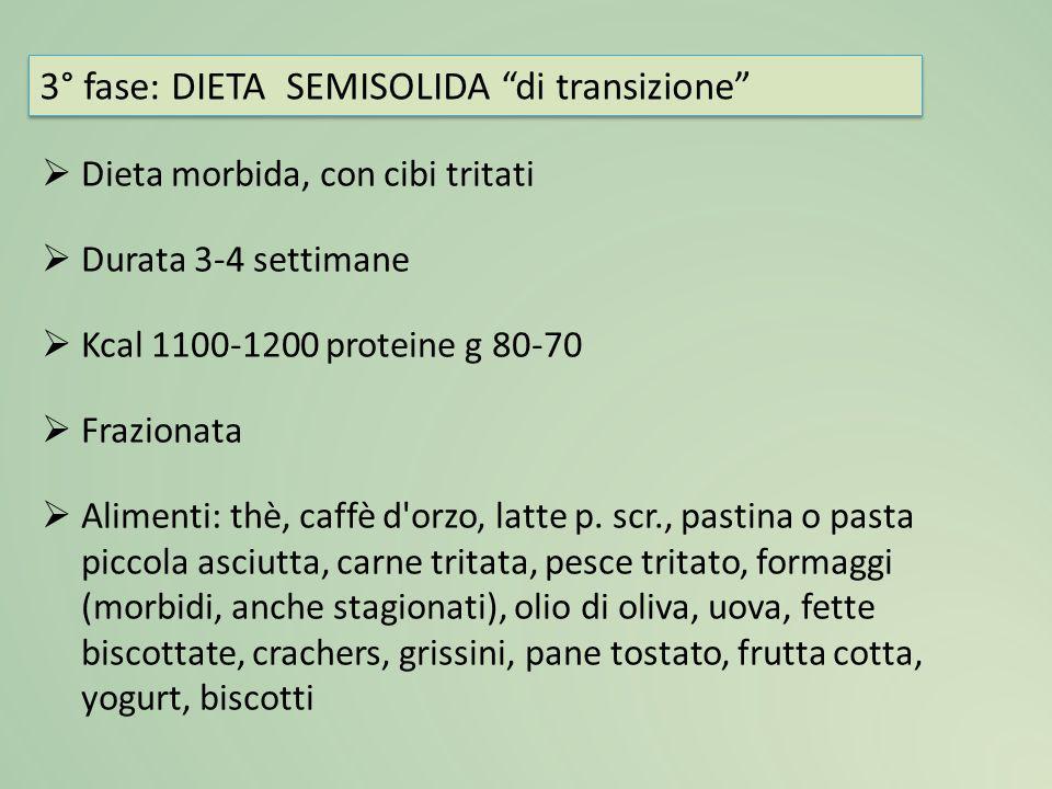  Dieta morbida, con cibi tritati  Durata 3-4 settimane  Kcal 1100-1200 proteine g 80-70  Frazionata  Alimenti: thè, caffè d'orzo, latte p. scr.,