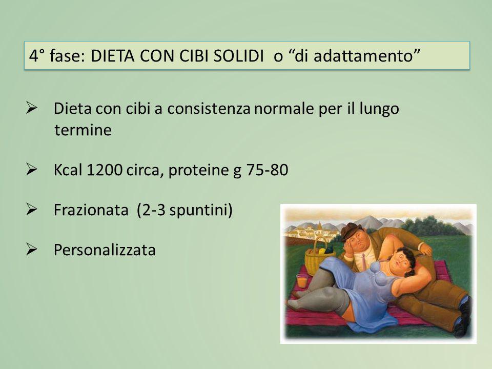  Dieta con cibi a consistenza normale per il lungo termine  Kcal 1200 circa, proteine g 75-80  Frazionata (2-3 spuntini)  Personalizzata 4° fase:
