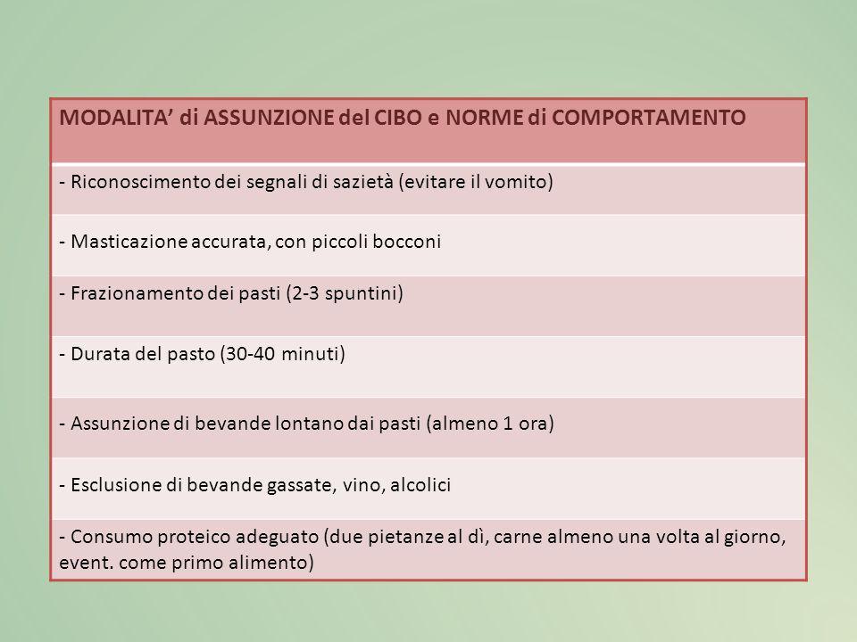 MODALITA' di ASSUNZIONE del CIBO e NORME di COMPORTAMENTO - Riconoscimento dei segnali di sazietà (evitare il vomito) - Masticazione accurata, con pic