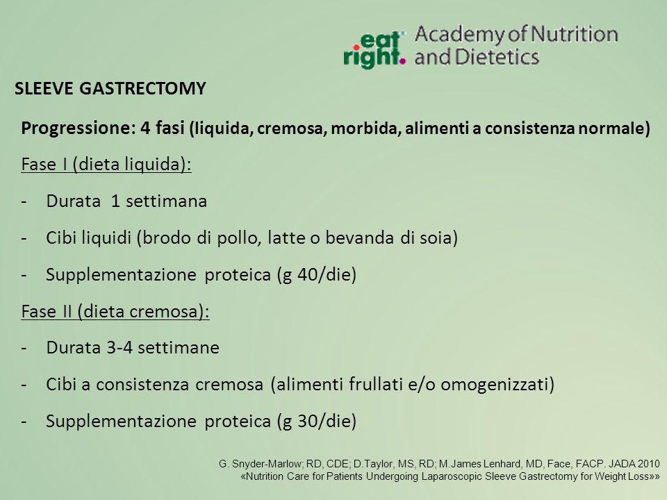Progressione: 4 fasi (liquida, cremosa, morbida, alimenti a consistenza normale) Fase I (dieta liquida): -Durata 1 settimana -Cibi liquidi (brodo di p