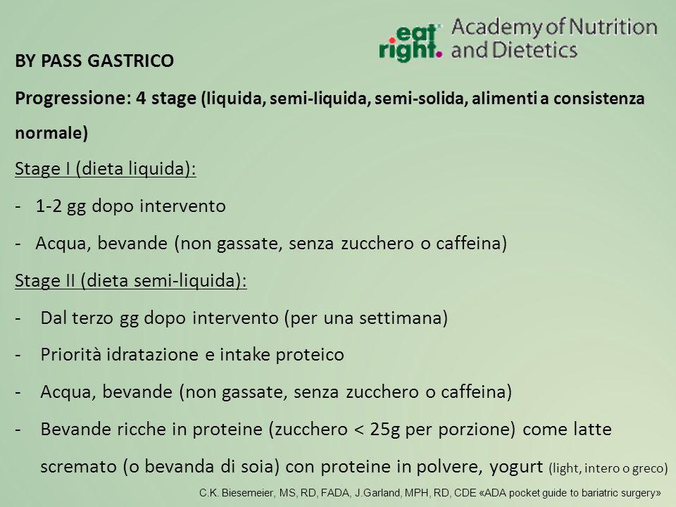 Progressione: 4 stage (liquida, semi-liquida, semi-solida, alimenti a consistenza normale) Stage I (dieta liquida): - 1-2 gg dopo intervento - Acqua,